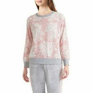 Splendid Floral Pullover Pajama Sweater Pink Small